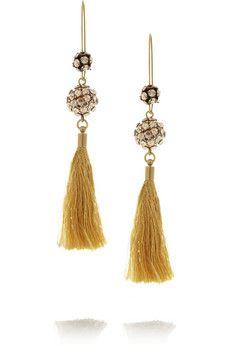 ISABEL MARANT Josephine gold-tone crystal tassel earrings