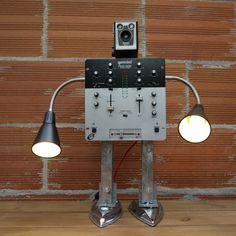 recycled art sculpture robot Ikea hack