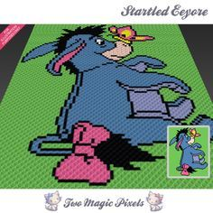 Startled Eeyore crochet blanket pattern; knitting, cross stitch graph; pdf download; no written counts or row-by-row instructions by TwoMagicPixels, $3.79 USD