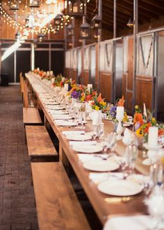 A great dinner party held for over two hundred guests... come to think of it, where else, but a barn, could you fit that many people ;)