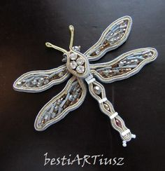 bestiARTiusz: Frozen Dragonfly (zoomophic soutache brooch/broszka sutasz)