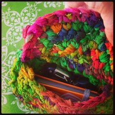 Chiffon Ribbon Small Clutch - free crochet pattern by Darn Good Yarn. Crochet Purse Patterns, Crochet Purses, Crochet Bags, Crochet Shell Stitch, Form Crochet, Clutch Pattern, Ribbon Yarn, Yarn Store, Arm Knitting