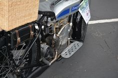 Right side of the motorcycle.