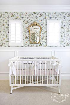 Antique gold mirror above crib || Shea McGee Design