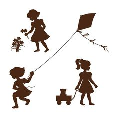 Silhouette Girls Wall Mural Get all three delightful silhouettes on one panel in this paint by number wall mural. Cut them apart an put them around the room. Put them above a chair rail or leave them Girl Silhouette, Silhouette Portrait, Vintage Silhouette, Kirigami, Silhouette Projects, Plotter Silhouette Cameo, Decoration Creche, Silhouettes, Wall Murals