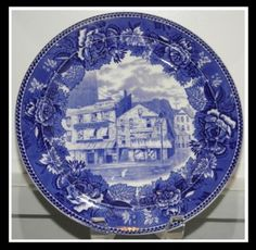 """Antique Wedgewood blue and white Plate""""Old Sun Tavern"""""""