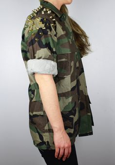 Spiked Studded FourPocket Woodland Camouflage by FlamingoMaude, $59.00