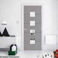 Bespoke Door - Flush Horizontal Grey Inlay - American Light Grey Ash.    door #doors