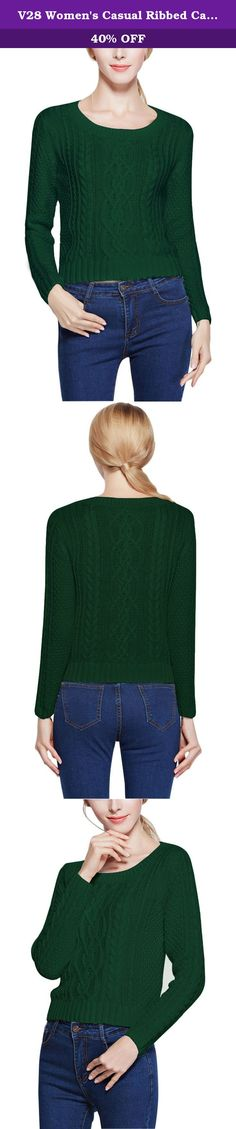 V28 Women's Casual Ribbed Cable Knit 100% Cotton Pullover Sweater Jumper (M, Green). V28 is Passion About Fashion and Knitwear, With Love & Passion It Creating Casual yet Dramatic Knitwear. V28 aim 100% Customer Satisfaction And Happiness. (V28 is a US registered trademark) Women Short Cable Sweater Vintage Cable Pattern Made of 100% Cotton Good for Skin and Envirment Material: Made of 100% Cotton Washing Instruction : Machine Washable in Cold/30 Degree Water Mild Soap Flat Dry Do not Bleach…