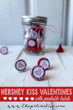Hershey Kiss Valentine Jars - with FREE printable Labels @HERSHEY'S KISSES