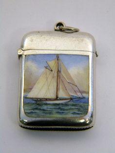 Antique Victorian Solid Silver Enamel Vesta Case Birm 1896 Sail Boat