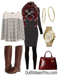 This outfit can be dressy or casual. Wear just the sweater dress with the scarf, leggings and boots for an amazing look. If you want to dress it up even more... put on some black knee high boots with a heel. Now, that's hot! For a more casual look, keep the brown boots and add the sweater. Click to shop this look...