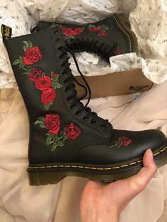 e475640af6c Limited addition Doc Martins. Rose embroidered leather boots. Super excited  to wear these.  shoes  DocMartins  leatherboots  embroidery Pinterest ...