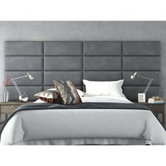 Vant Upholstered Wall Panels (Headboards) Sets of 4 - Micro Suede Gray - 30 Inch - Full-Queen., Charcoal Grey