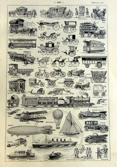 1923 Vintage french vehicles engraving, original antique means of transport print, dictionary page cars ballon lorry truck bus train ship.