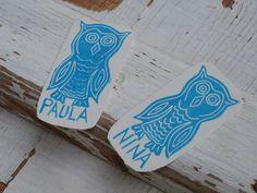 1 Namensstempel,  Eule mit deinem Namen von andiva auf DaWanda.com