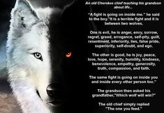THE TALE OF TWO WOLVES, A BEAUTIFUL NATIVE AMERICAN PARABLE...   An old Cherokee chief teaching his grandson about life... The One You Feed, Bad Wolf, Two Wolves Story, Native American Poems, Native American Tattoos, Favorite Quotes, Cherokee Chief, Motivational Quotes, Inspirational Quotes