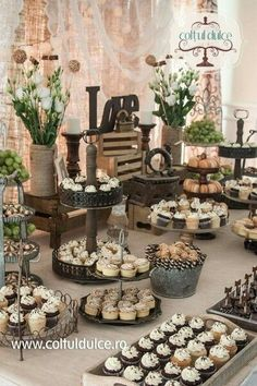 "Rustic theme / Vintage theme /Candy Bar /Dessert Table / Coltul Dulce / www.coltuldulce.ro [ ""REALLY LIKE the idea of having family bring a dessert/cake and we give out the recipes to everyone - more personal"", ""love all the \""matching\"" food!"", ""like the crates to elevate things to different levels"", ""mixing different desert \""holders\"" is cute"", ""I just love the colour scheme..."", ""Rustic theme epic dessert table!"", ""Thèmes Réceptions Buffets"" ] # # #Rustic #Bars, # ..."