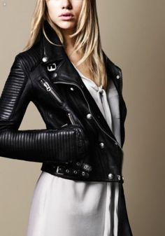 BURBERRY BRIT Washed Leather Biker Jacket Perfecto Femme, Cuir, Chaussure,  Mode Femme, afd170a4472