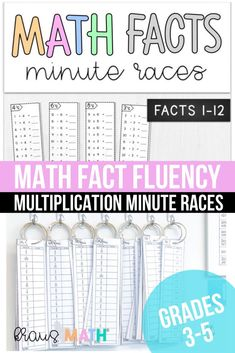 Math Facts Minute Races: Addition, Subtraction, Multiplication & Division! (Facts 0-12) *3rd Grade Math TEKS Aligned *4th Grade Math TEKS Aligned *5th Grade Math TEKS Aligned! #3rdgeademathteks #4thgrademathteks #5thgrademathteks 4th Grade Math Games, Kindergarten Math Activities, Math Resources, Math Fact Fluency, 12th Maths, Math Poster, Guided Practice, Multiplication And Division, Math Facts