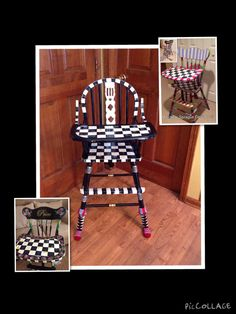 Wood high chair custom painted black and white checks whimsical furniture by MicheleSpragueDesign on Etsy https://www.etsy.com/listing/222758878/wood-high-chair-custom-painted-black-and