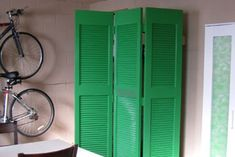 Old closet doors turned into a room divider. Cool idea