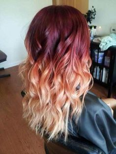 Red & Blonde Ombre Hair✶ #Hairstyle #Colorful_Hair #Dyed_Hair