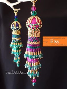 Items similar to Maharaja Tassel (An Intermediate Level E-Tutorial/Pattern) on Etsy O Beads, Beads And Wire, Beaded Jewelry Patterns, Beading Patterns, Beautiful Christmas Decorations, Selling Handmade Items, Beaded Christmas Ornaments, Passementerie, Yarn Crafts