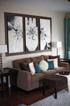 Imagini pentru light teal wall deep brown couch living