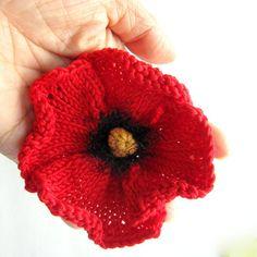 PDF Pattern Women Knit Cloche Hat Flapper Cloche Hat by ohmayzee Knitted Poppy Free Pattern, Knitted Flower Pattern, Knitted Poppies, Crochet Poppy, Poppy Pattern, Knitted Flowers, Knitting Patterns Free, Knitting Ideas, Crochet Pattern