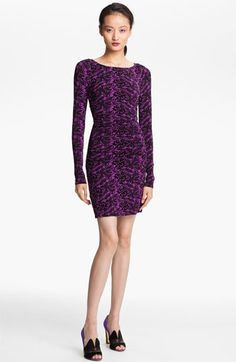 Ruched Batik Print Jersey Dress by Tracy Reese