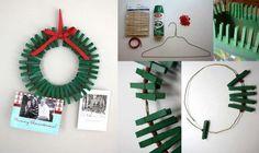 REUTILIZANDO: Corona de Navidad hecha con pinzas de ropa