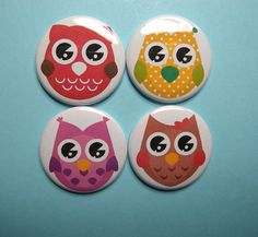 Magnet+Set+or+Pinback+Button+Set++Cute+Owls+++by+CreativeSanity,+$5.50
