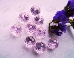 10mm Baby Pink Faceted Rondelle Crystal Glass Beads 40pcs