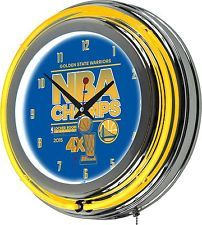 Golden State Warriors Chrome Double Rung Neon Clock - 2015 NBA Champs
