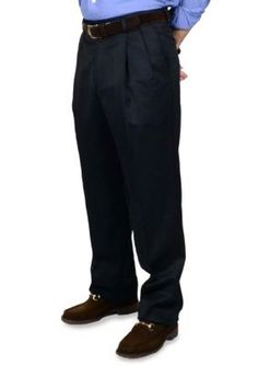BERLE Navy Super 100s Gabardine Trouser