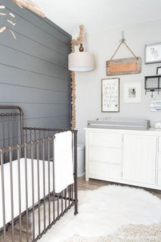 Every baby and mother need a good nursery room, so both of them can feel more comfortable whenever they are caring each other together. Then how to make a Baby Boy Rooms, Baby Boy Nurseries, Baby Boys, Gender Neutral Nurseries, Modern Nurseries, Kids Rooms, Chambre Nolan, Iron Crib, Coastal Nursery