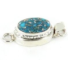 BLUE BIRD TURQUOISE STERLING OVAL CLASP 13x8.5mm