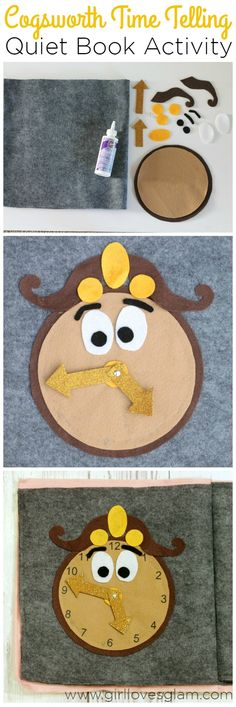 Cogsworth Time Telling Quiet Book Activity on www.girllovesglam... #disney_crafts_activities