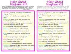 Young Women Ideas from 2 sisters: Holy Ghost Hygiene Kit - January 2013