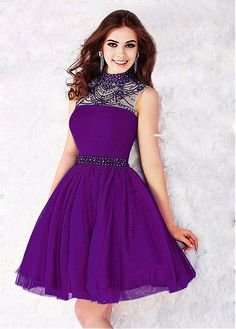 Stunning Tulle High Collar  Neckline A-line Homecoming Dresses With Beadings & Rhinestones