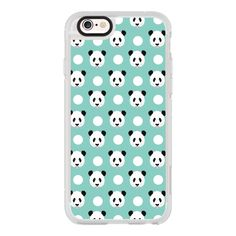 iPhone 6 Plus/6/5/5s/5c Case - Panda polka dots mint black and white... ($40) ❤ liked on Polyvore featuring accessories, tech accessories, phone cases, cases, phone, tech, iphone case, apple iphone cases, iphone cover case and iphone hard case