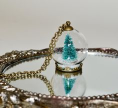 Christmas Tree Snow Globe Necklace Glass Ball by flonightingales