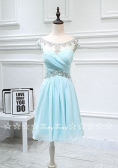 Chiffon Homecoming Dresses with Cap Sleeves,Short Prom Dresses,Elegant Sweet 16…