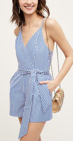Blue and white candy stripe, wrap front romper