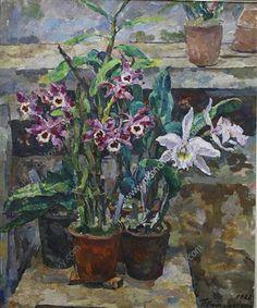 Pots of post-Impressionist orchids. Still Life. By Pyotr Konchalovsky, 1928 Matisse, Expressionist Artists, Socialist Realism, Post Impressionism, Art Database, Happy Art, Russian Art, State Art, Botanical Illustration