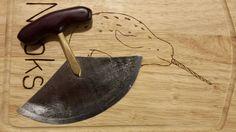 Ulu (Inuit women's knife) brass rod, steel blade and wooden handle Garden Trowel, Garden Tools, Wooden Handles, Blade, Steel, House, Beautiful, Home, Yard Tools