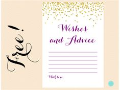FREE Purple and Gold Wishes and Advice Card | Printabell • Express