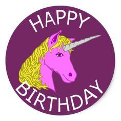 Happy Birthday Unicorn Classic Round Sticker
