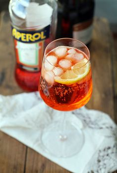 Aperol Spritz - 3 parts chilled prosecco, 2 parts Aperol, Splash of tonic/soda, Orange slices for garnish